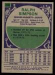 1975 Topps #240  Ralph Sampson  Back Thumbnail