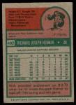 1975 Topps #492  Rich Hebner  Back Thumbnail