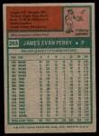 1975 Topps #263  Jim Perry  Back Thumbnail