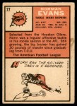 1966 Topps #77  Norm Evans  Back Thumbnail