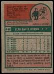 1975 Topps #446  Bart Johnson  Back Thumbnail