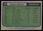 1975 Topps #330   Virginia Squires Back Thumbnail