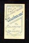 1909 T206  Clyde Engle  Back Thumbnail