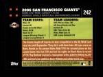 2007 Topps #242   San Francisco Giants Back Thumbnail