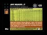 2007 Topps #420  Jeff Weaver  Back Thumbnail
