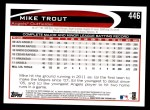 2012 Topps #446  Mike Trout  Back Thumbnail