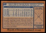 1978 Topps #665  Dennis Leonard  Back Thumbnail