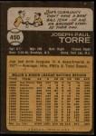 1973 Topps #450  Joe Torre  Back Thumbnail