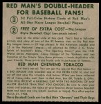 1952 Red Man #14 NL x Sal Maglie  Back Thumbnail