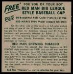 1954 Red Man #24 NL x Lew Burdette  Back Thumbnail