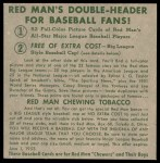 1952 Red Man #20 NL x Enos Slaughter  Back Thumbnail