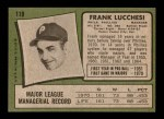 1971 Topps #119  Frank Lucchesi  Back Thumbnail