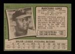 1971 Topps #137  Marcelino Lopez  Back Thumbnail