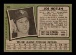 1971 Topps #345  Joe Horlen  Back Thumbnail