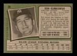 1971 Topps #28  Ron Klimkowski  Back Thumbnail