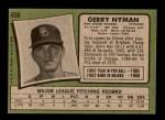1971 Topps #656  Gerry Nyman  Back Thumbnail