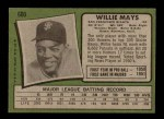 1971 Topps #600  Willie Mays  Back Thumbnail