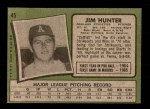 1971 Topps #45  Catfish Hunter  Back Thumbnail