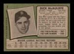 1971 Topps #3  Dick McAuliffe  Back Thumbnail