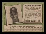 1971 Topps #602  Marty Martinez  Back Thumbnail