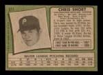 1971 Topps #511  Chris Short  Back Thumbnail