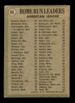 1971 Topps #65   -  Frank Howard / Harmon Killebrew / Carl Yastrzemski AL HR Leaders  Back Thumbnail
