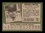 1971 Topps #257  Nelson Briles  Back Thumbnail