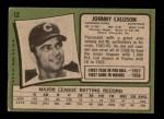 1971 Topps #12  Johnny Callison  Back Thumbnail
