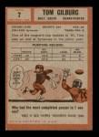 1962 Topps #7  Tom Gilburg  Back Thumbnail