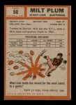 1962 Topps #50  Milt Plum  Back Thumbnail