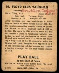 1941 Play Ball #10  Arky Vaughan  Back Thumbnail