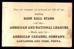 1922 E121-120 American Caramel  W.L. Gardner  Back Thumbnail