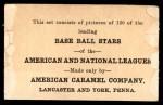 1922 E121-120 American Caramel  Irish Meusel  Back Thumbnail