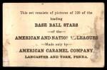 1922 E121-120 American Caramel  Joe Sewell  Back Thumbnail