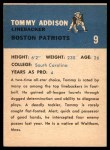 1962 Fleer #9   Tommy Addison  Back Thumbnail