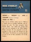 1962 Fleer #11  Ross O'Hanley  Back Thumbnail