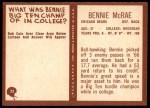 1967 Philadelphia #32  Bennie McRae  Back Thumbnail
