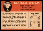1961 Fleer #63  Johnny Mize  Back Thumbnail