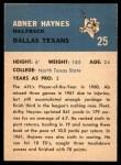 1962 Fleer #25  Abner Haynes  Back Thumbnail