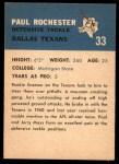 1962 Fleer #33  Paul Rochester  Back Thumbnail