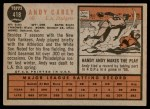 1962 Topps #418  Andy Carey  Back Thumbnail
