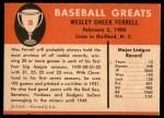 1961 Fleer #26  Wes Ferrell  Back Thumbnail