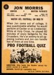 1967 Topps #6  Jon Morris  Back Thumbnail