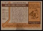 1973 Topps #141  Alex Delvecchio   Back Thumbnail