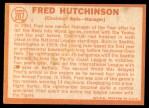 1964 Topps #207  Fred Hutchinson  Back Thumbnail