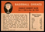 1961 Fleer #51  Chuck Klein  Back Thumbnail