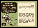 1970 Topps #38  Gord Labossiere  Back Thumbnail