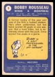1969 Topps #9  Bobby Rousseau  Back Thumbnail