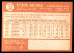 1964 Topps #53  Denis Menke  Back Thumbnail