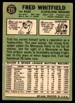 1967 Topps #275  Fred Whitfield  Back Thumbnail